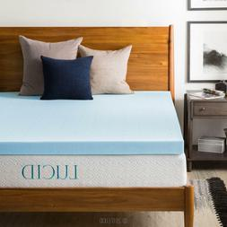 LUCID 2, 3, 4 Inch Cooling Gel Memory Foam Mattress Topper -