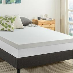 3'' Green Tea infused Memory Foam Mattress Topper with Cover