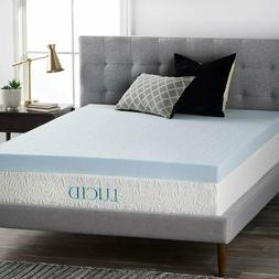 LUCID 4 Inch Gel Memory Foam Mattress Topper-Ventilated Desi