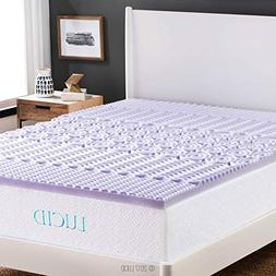 "LUCID 2"" 5-Zone Lavender Memory Foam Mattress Topper Queen N"