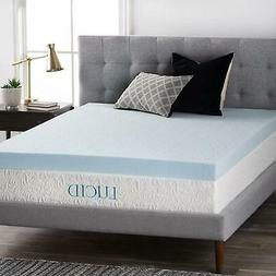 LUCID 4 Inch Gel Memory Foam Mattress Topper Ventilated pad