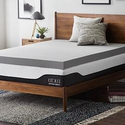 Lucid 4 Inch Bamboo Charcoal Memory Foam Mattress Topper - T
