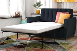 Couch Twin Sleeper Sofa Pull Out Navy Blue Bed Memory Foam M
