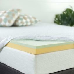 Zinus 3 Inch Green Tea Memory Foam Mattress Topper, Queen