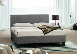 Grey Upholstered Fabric 4FT6 Double Bed Frame With Memory Fo