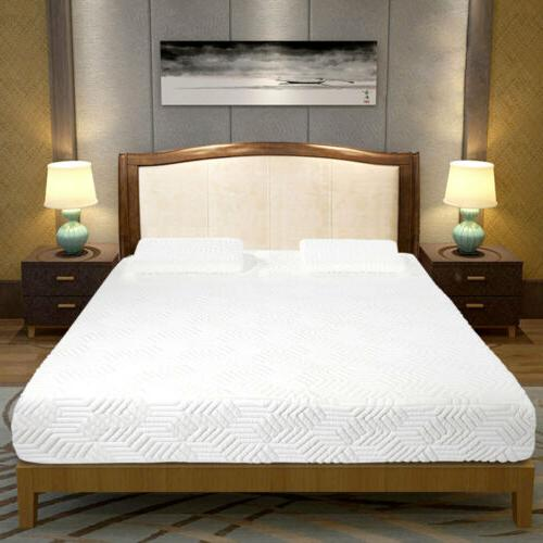 "10"" Medium-Firm Memory Mattress Bed with White"