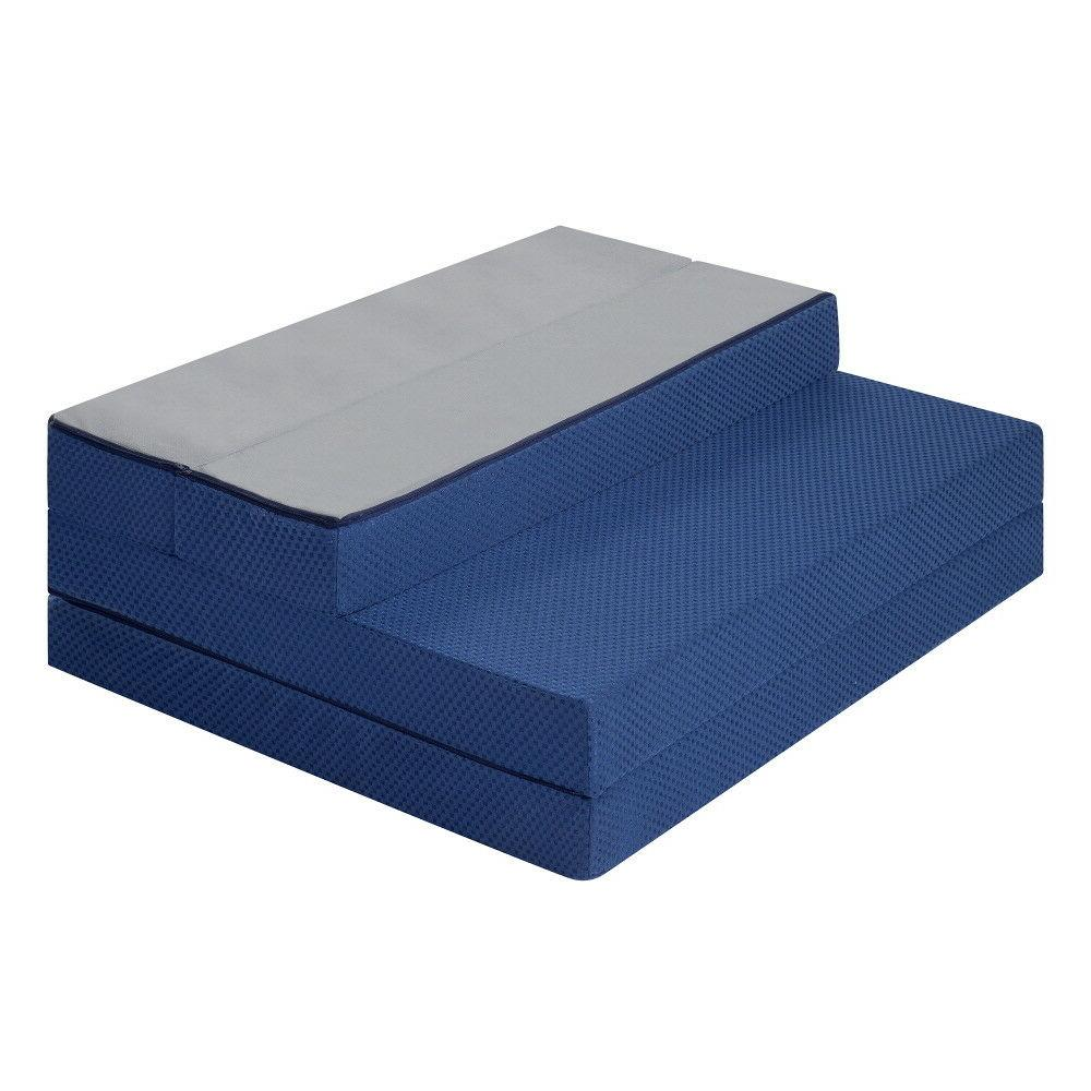 SLEEPLACE 4 Tri-Folding Memory Mattress Sofa Blue Twin
