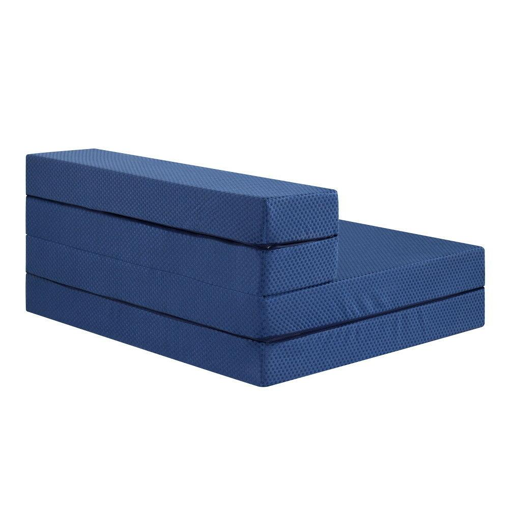 SLEEPLACE 4 Inch Tri-Folding Memory Foam Mattress Sofa Blue XL