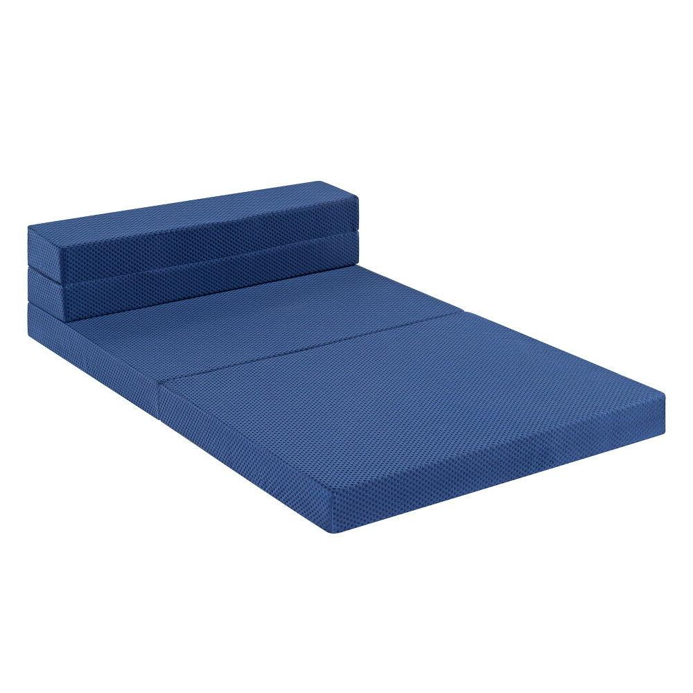 SLEEPLACE 4 Inch Tri-Folding Memory Foam and Sofa Bed Blue XL