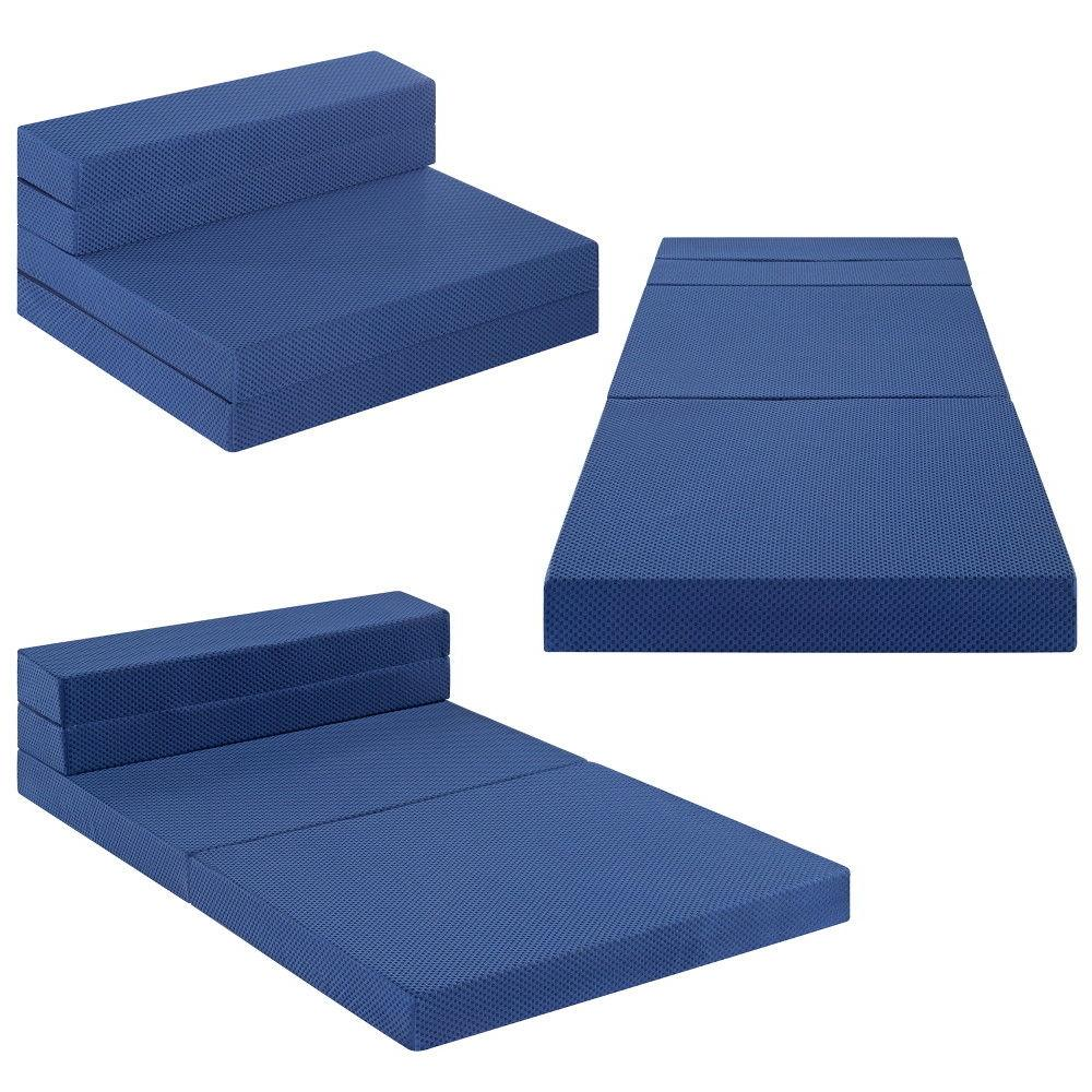 SLEEPLACE 4 Tri-Folding Memory Sofa Bed Blue XL