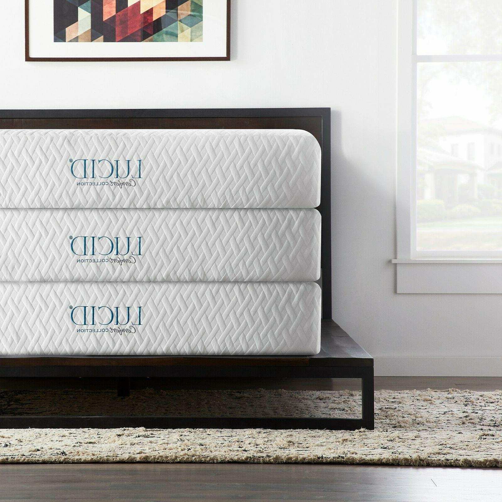 LUCID Comfort Collection 10 inch Gel Memory Mattress Plush, Firm