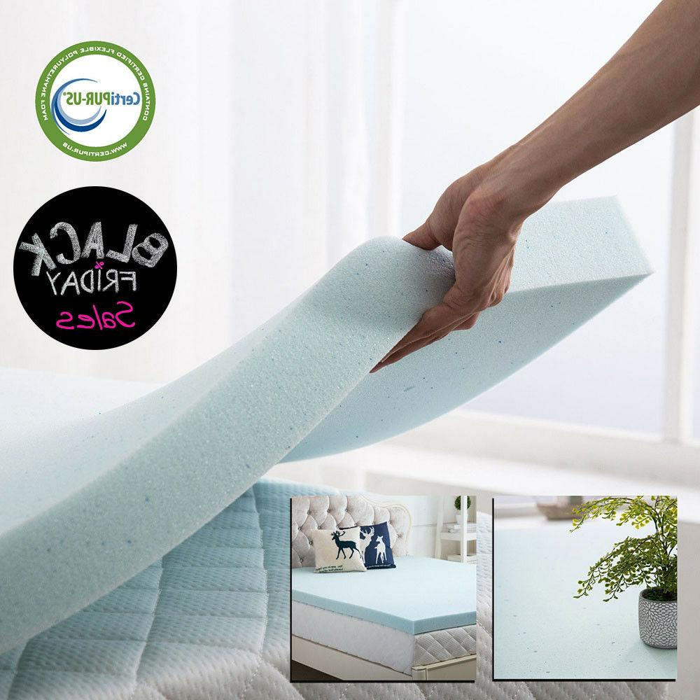 Gel Memory Foam Mattress Topper 2.5 Inch Twin Full Queen Kin
