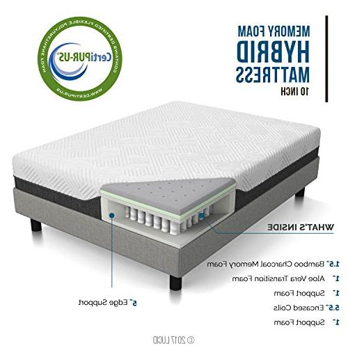 LUCID 10 Inch Full Hybrid Mattress - Bamboo Charcoal and Infused Moisture Wicking Reducing - CertiPUR-US