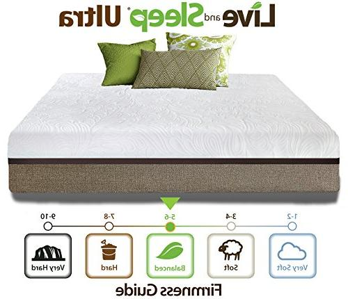 Live Sleep Ultra King Mattress Memory Foam Mattress 12-inch King Size Firm Box - Form Pillow Certified -