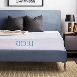 LUCID 10 Inch Gel Memory Foam Mattress - Dual-Layered - Cert